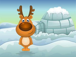 Reindeer in Winter, illustration