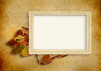 Vintage background with old photo frame