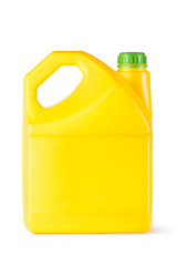 Yellow plastic canister for household chemicals