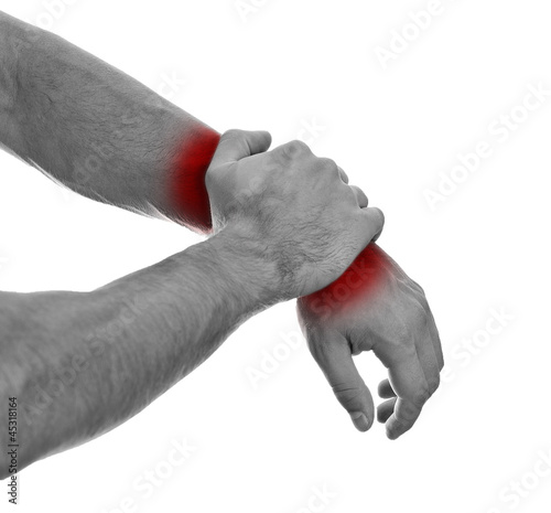 Poster Rood, zwart, wit Close up view of male hands with wrist pain. Isolated