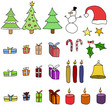 Christmas items - isolated vector illustration doodle