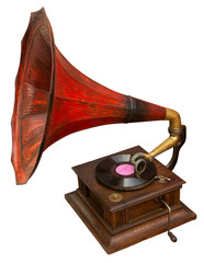 Gramophone with red horn. Clipping path included.