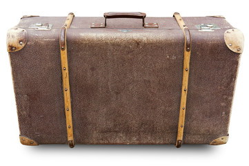 Old suitcase isolated. Clipping path included.