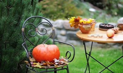 Wooden table and chair set outdoors