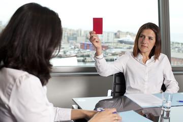 Woman being dismissed