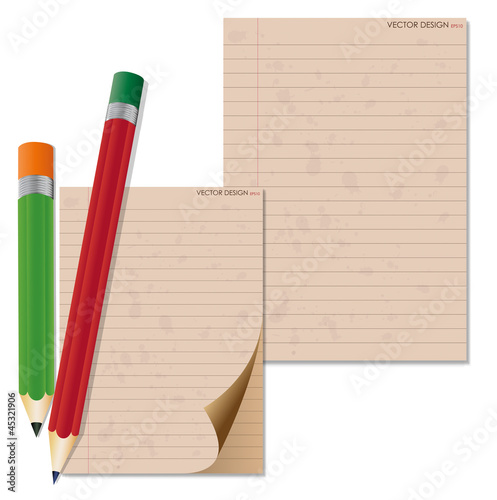 Pencil and vintage paper, ready for your message. Vector illustr
