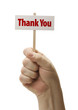Hand Held Thank You Sign In Fist On White