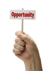 Opportunity Sign In Fist On White