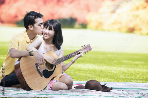 Sweet couple in autumn day