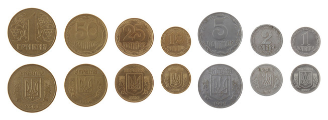 Ukrainian Coins Isolated on White
