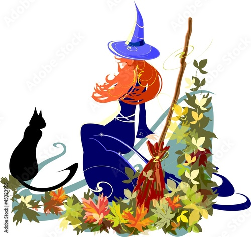 Red-haired witch with a black cat
