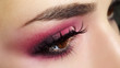 Red Eye Makeup. Beautiful eye makeup close up