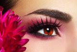 Fototapety Beautiful Eye Makeup with Aster Flower