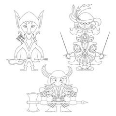 Fantasy heroes, set, contour