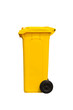 Large yellow trash can, side view