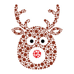 Christmas reindeer rudolf icon made of circles