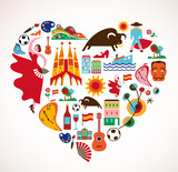 Fototapety Spain Love - heart with set of vector icons