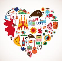Hiszpania miłość - serce z zestawu ikon wektorowych