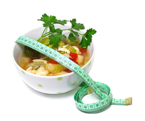 Vegetable soup for weight loss on a white background