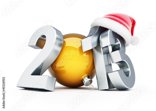 happy new year 2012 santa hat on white background