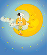 girl, dog and moon