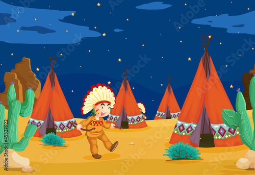 Papiers peints Indiens tent house and kid