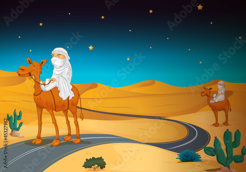 arabians riding on a camel