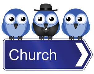 Comical church sign