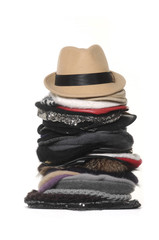 Stacked of lady hats