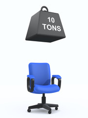 3d Office chair with one ton weight above