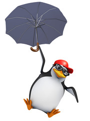 3d Penguin baseball cap floats under his umbrella