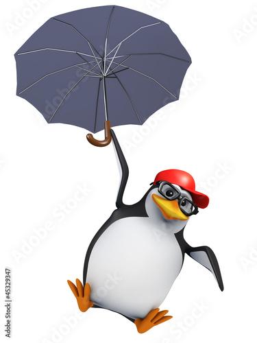 3d Penguin baseball cap floats under his umbrella