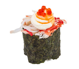 sushi kani with sauced slices of crab shrimp isolated on white b