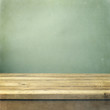 Wooden Deck Table On Green Gru...