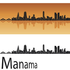 Manama skyline in orange background