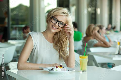 Seductive lady in a drink bar