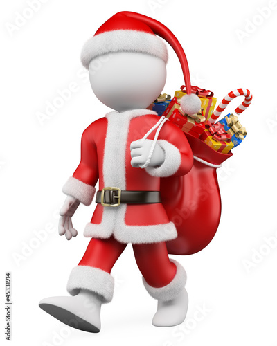 3D Christmas white people. Santa Claus walking with a sack full