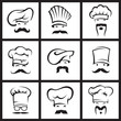 monochrome illustration of nine mustachioed chefs