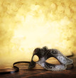 canvas print picture - carnival mask with golden background