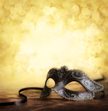 carnival mask with golden background