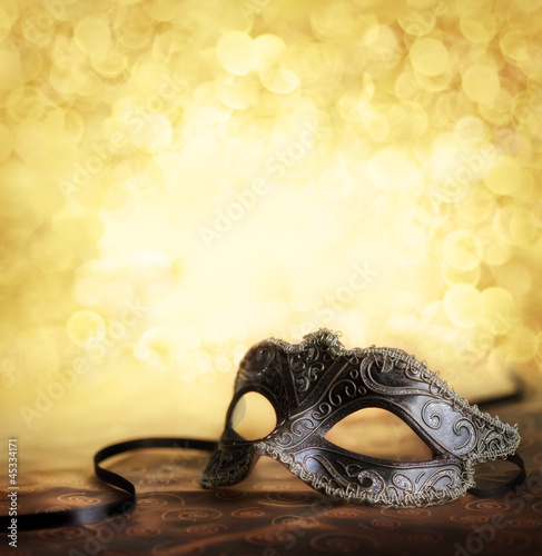 carnival mask with golden background - 45334171