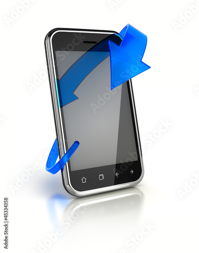 Mobile Phone with Blue Arrow
