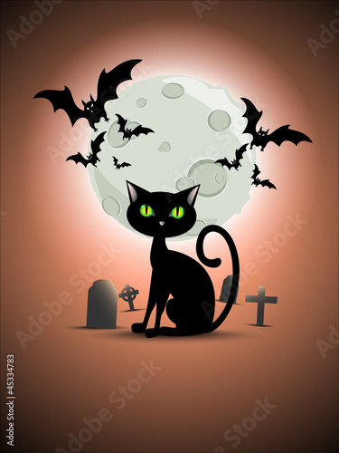 Halloween cat, graveyard, moon and bats