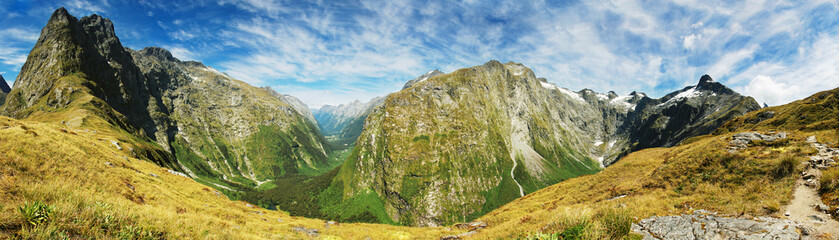 Mackinnon Pass panorama, Milford track,  Fiordland National Park