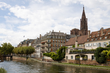 Cityscape in Strasbourg with river