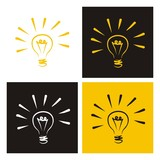 Light bulb vector icons doodle set sign of creative invention poster