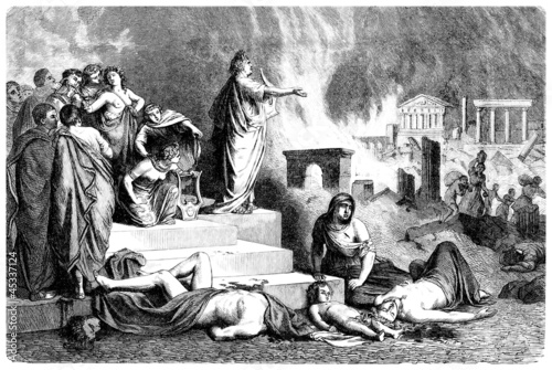 Emperor Nero sings & Rome is burning - Antiquity