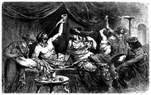 Leinwanddruck Bild Antique Rome - Orgy, Bacchanalia - Messaline