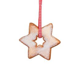 Weihnachtsstern rustikal auf weiß isoliert