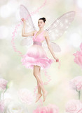 Fototapety Gorgeous young woman as flower fairy